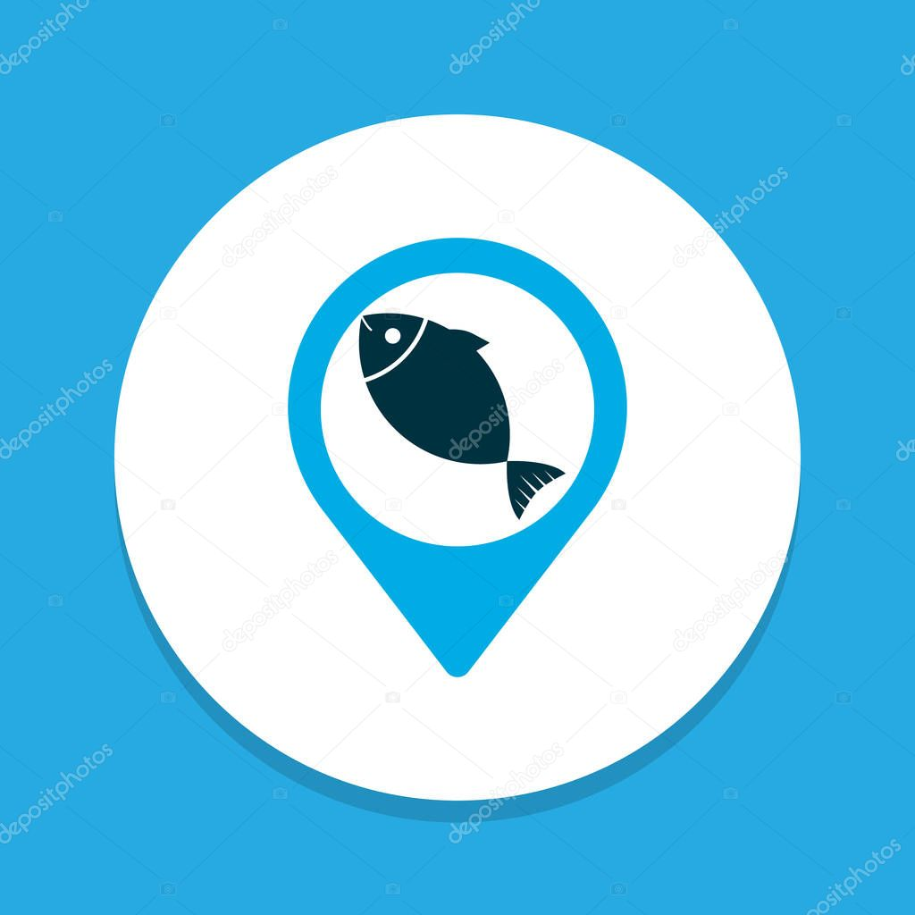 Geolocation icon colored symbol. Premium quality isolated fish location element in trendy style.