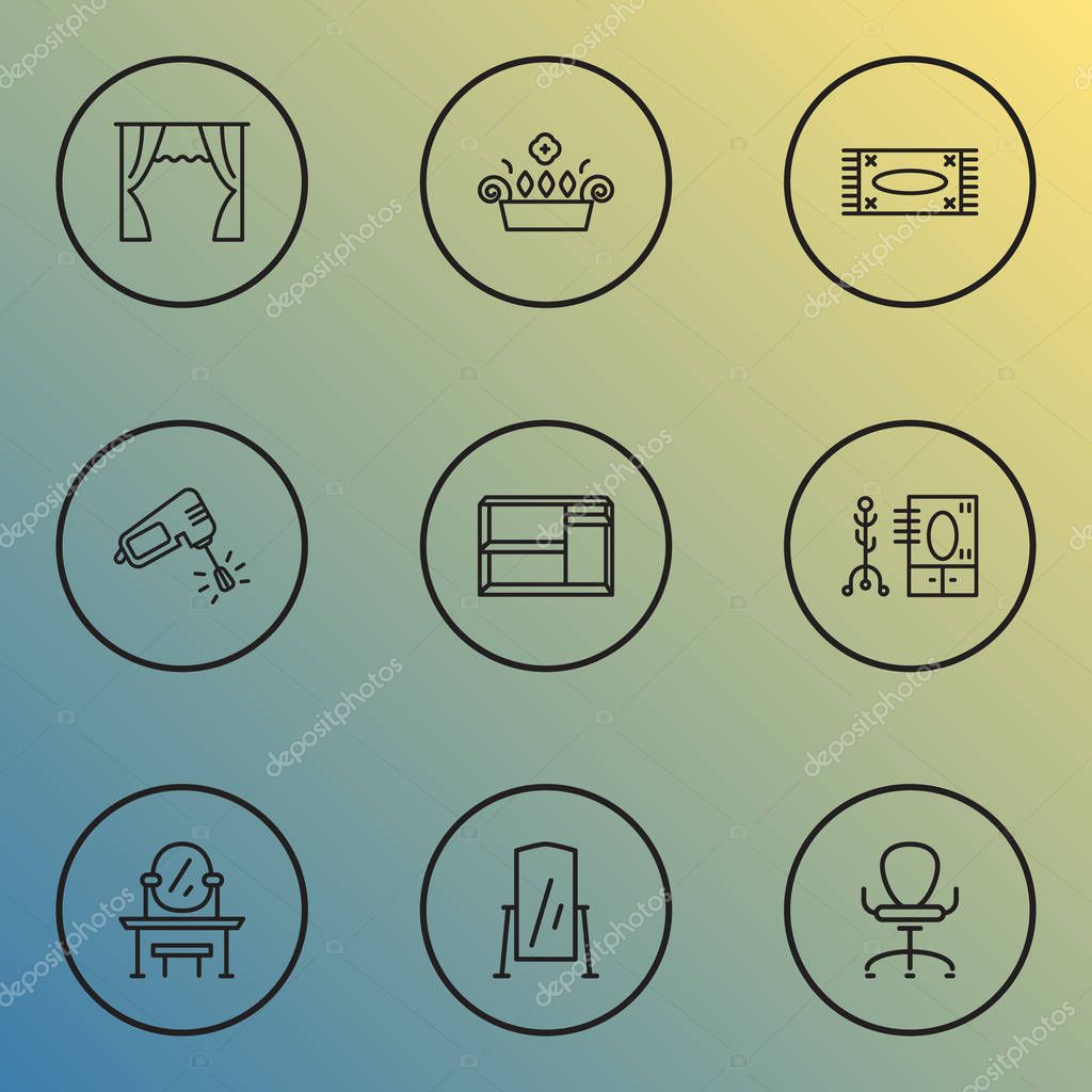 Home Decoration Icons Line Style Set With Curtain Window Plant Shelving Unit And Other Coat Stand Elements Isolated Vector Illustration Home Decoration Icons Premium Vector In Adobe Illustrator Ai Ai