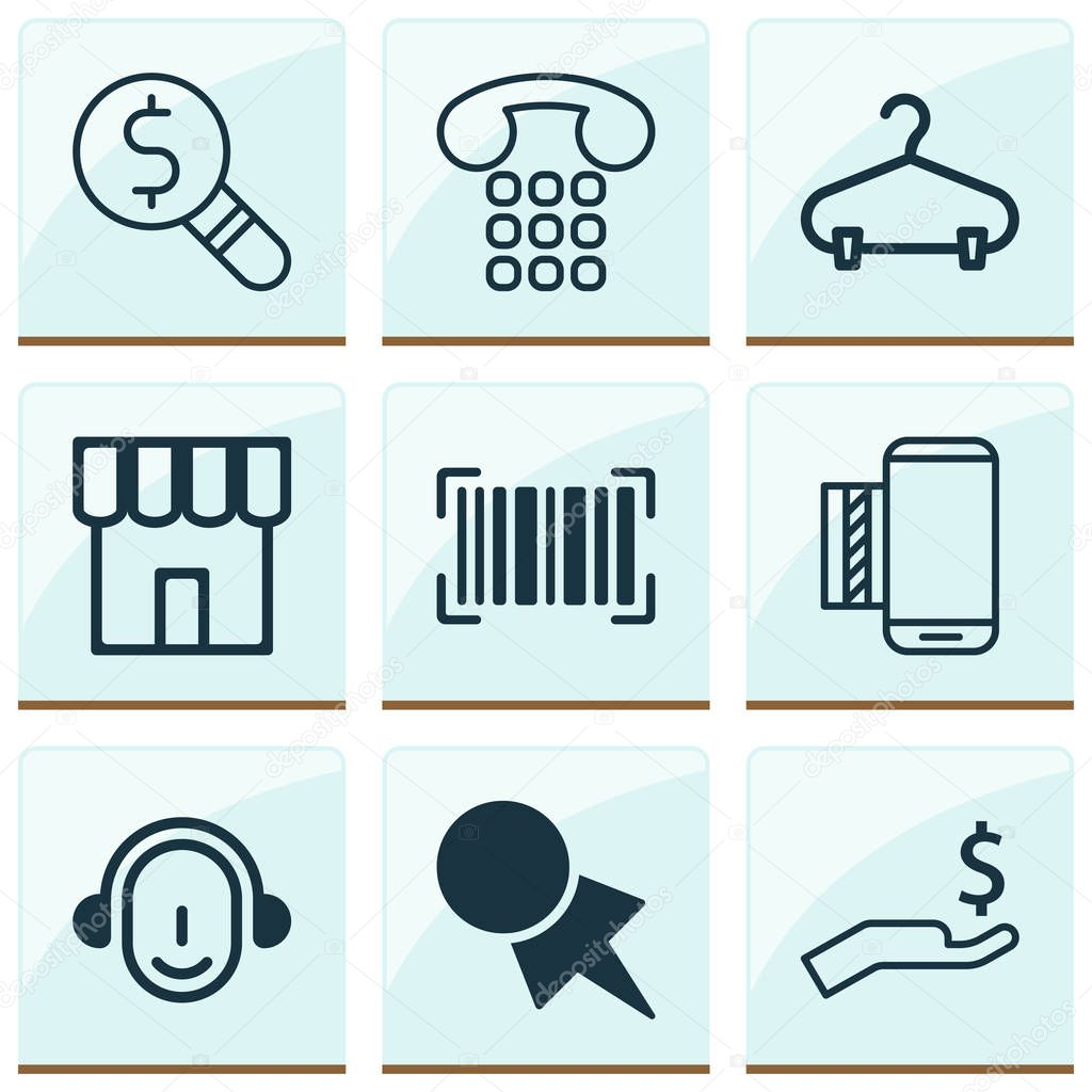 E-commerce icons set with call center worker, hanger, barcode and other employee elements. Isolated  illustration e-commerce icons.