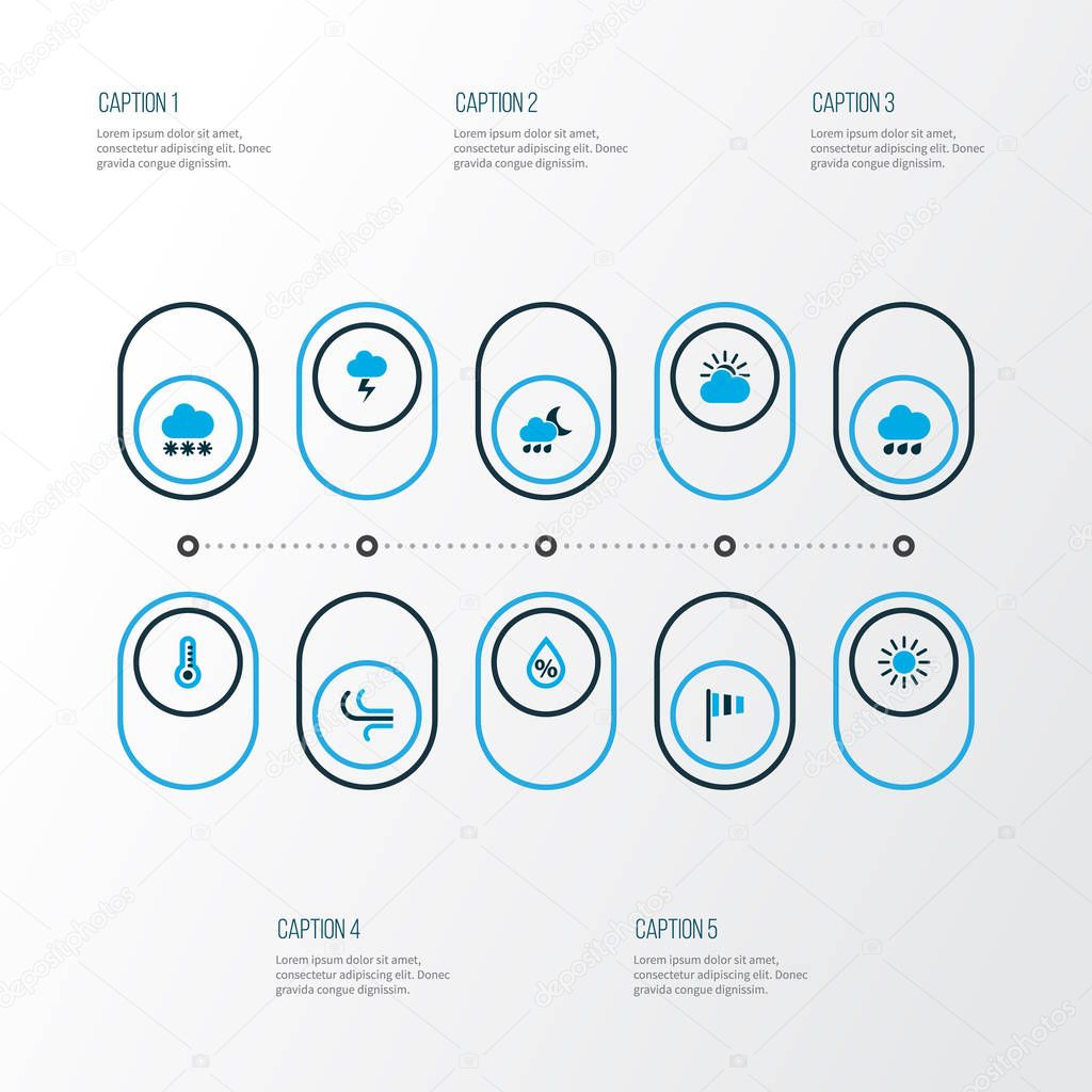Air icons colored set with rainstorm, flag, cloudy sky and other lightning elements. Isolated  illustration air icons.