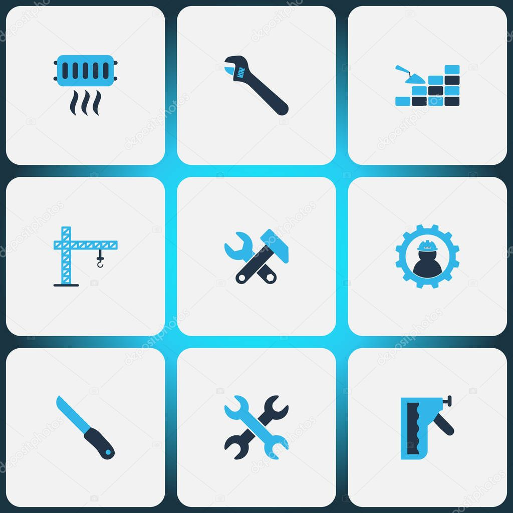 Industry icons colored set with bricklaying, crane, knife and other sharp elements. Isolated vector illustration industry icons.