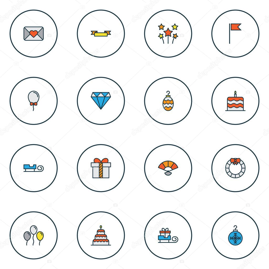 Christmas icons colored line set with christmas ball, bauble, banner and other brilliant elements. Isolated vector illustration christmas icons.