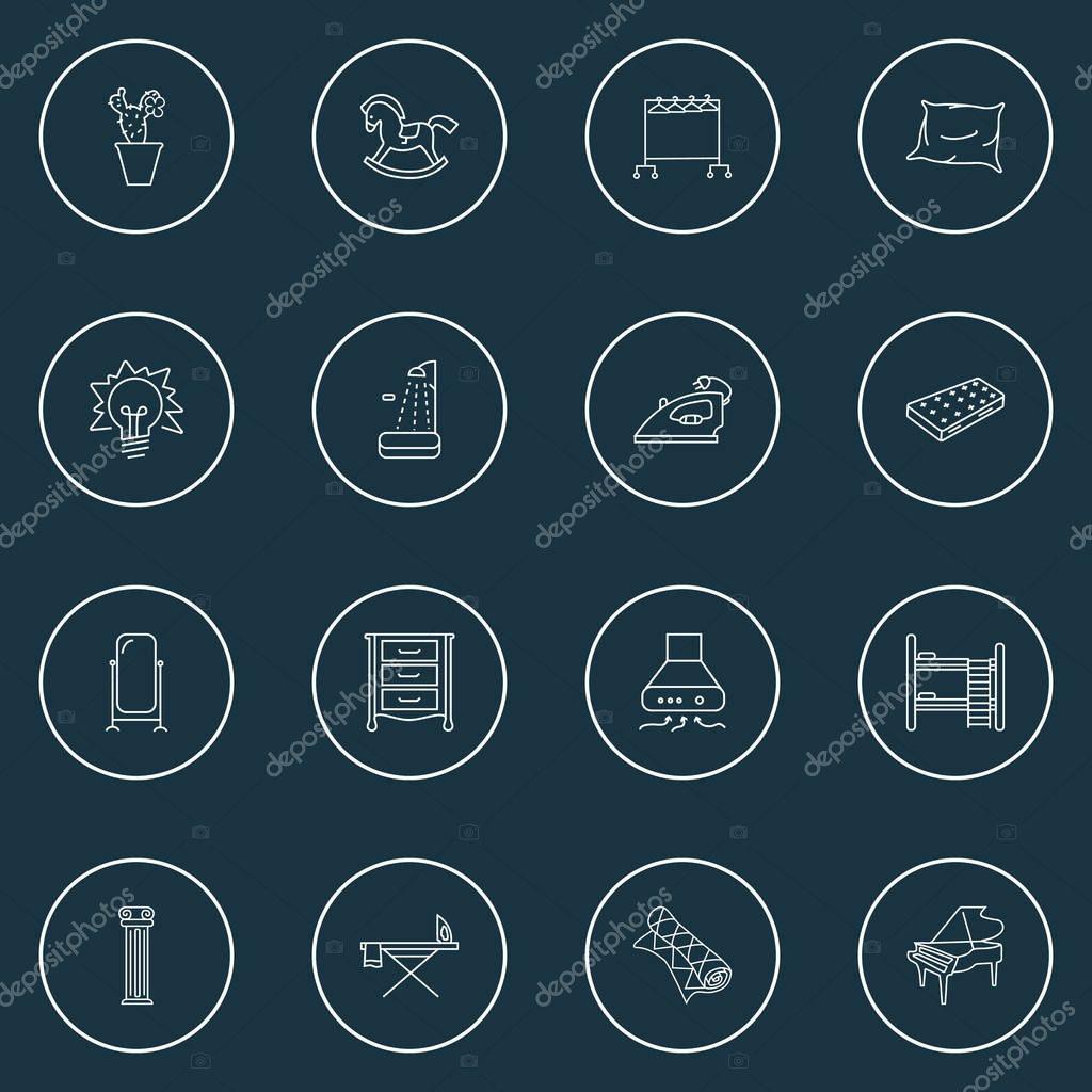 Furniture icons line style set with floor mirror, dresser, shower and other wooden pony elements. Isolated vector illustration furniture icons.