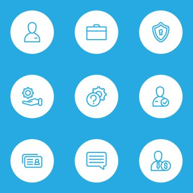 Work icons line style set with privacy, briefcase, candidate employee elements. Isolated  illustration work icons.