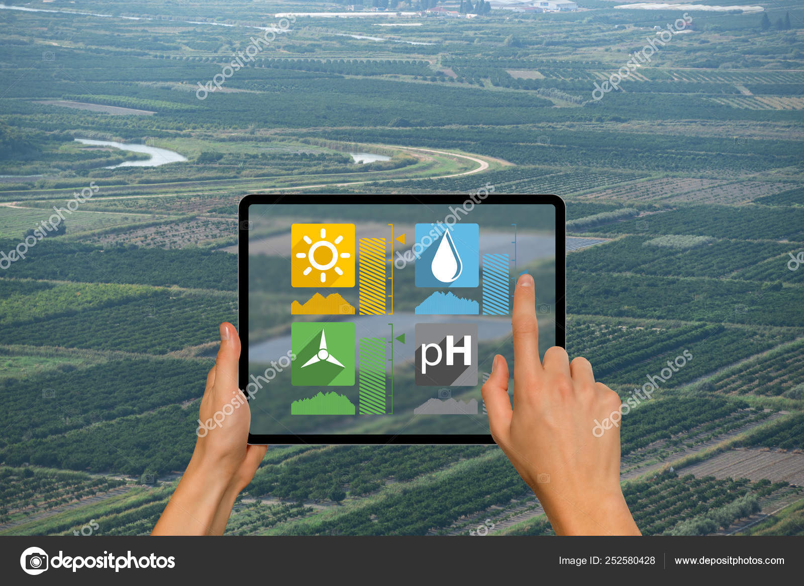 Smart farming and digital agriculture concept — Stock Photo