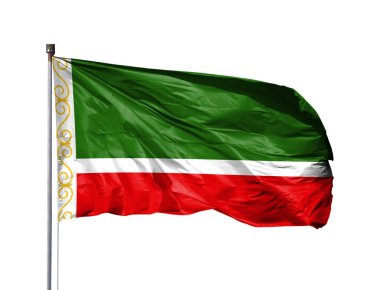 National flag of Chechen Republic on a flagpole, isolated on white background