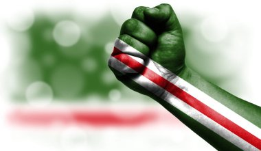 Flag of Chechen Republic of Ichkeria painted on fist