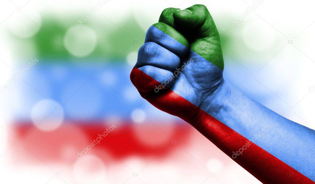 Flag of Dagestan painted on fist