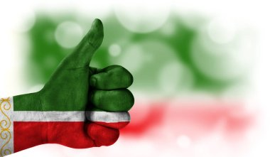 hand thumbs up, flag of Chechen Republic.