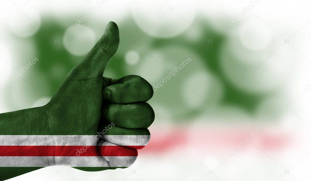 hand thumbs up, flag of Chechen Republic of Ichkeria.