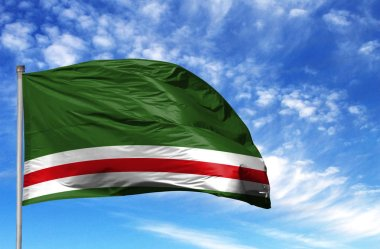 National flag of Chechen Republic of Ichkeria on a flagpole