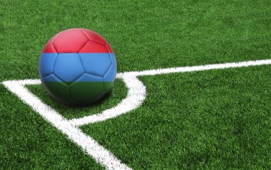 soccer ball on a green field, flag of Dagestan