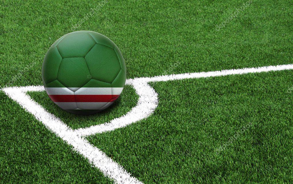 soccer ball, flag of Chechen Republic of Ichkeria