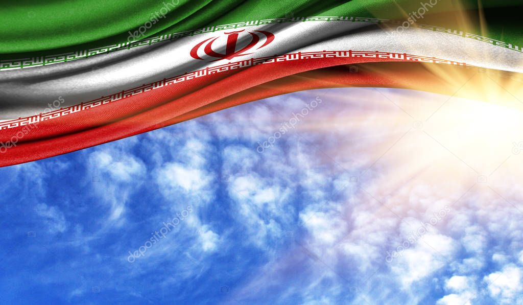 the flag of Iran in the rays sun
