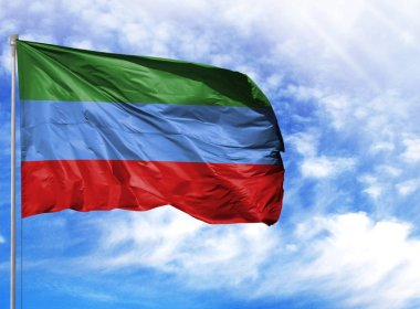 National flag of Dagestan on a flagpole