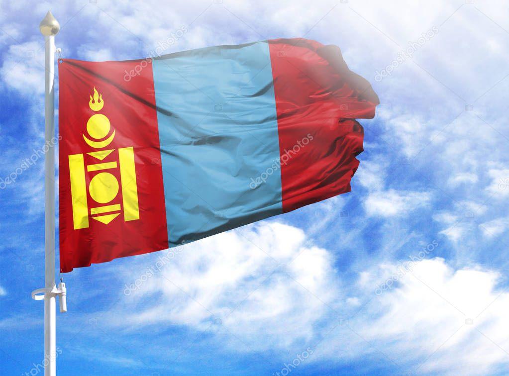 National flag of Mongolia on a flagpole