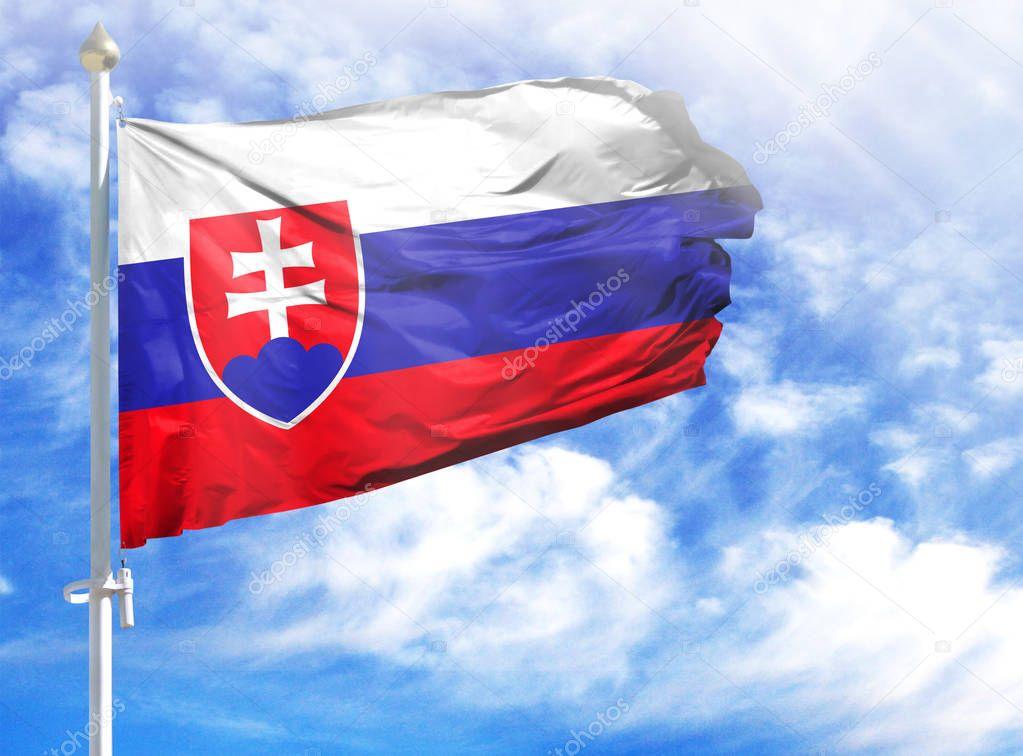 National flag of Slovakia on a flagpole