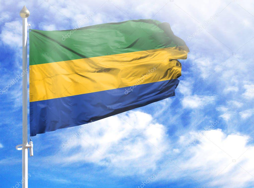 National flag of Gabon on a flagpole