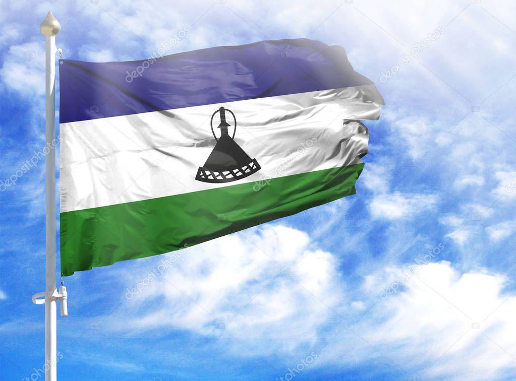 National flag of Lesotho on a flagpole