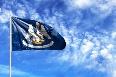 National flag State of Louisiana on a flagpole in front of blue sky