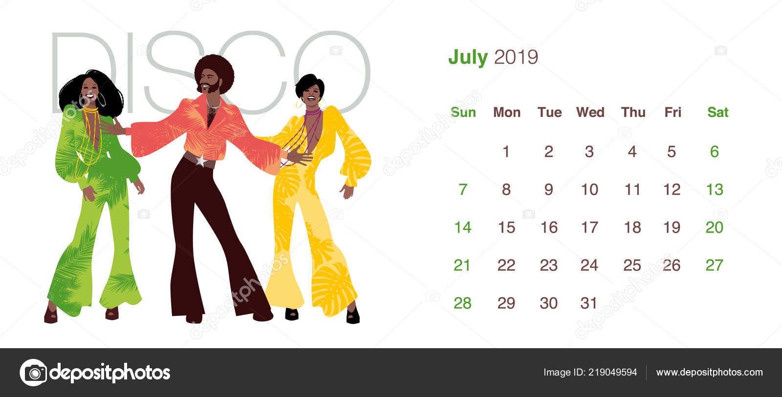 bf321754e 2019 Tanec Kalendář Červenec Muž Dvě Ženy Které Nosí Oblečení ...
