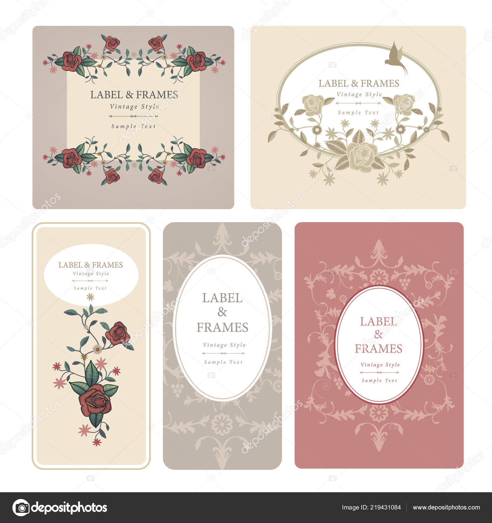Elegant antique vintage style labels with decoration of birds and