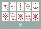 Fényképek Deck of hearts. From Ace to ten of hearts. Deck of cups. Glasses of red wine and roses.