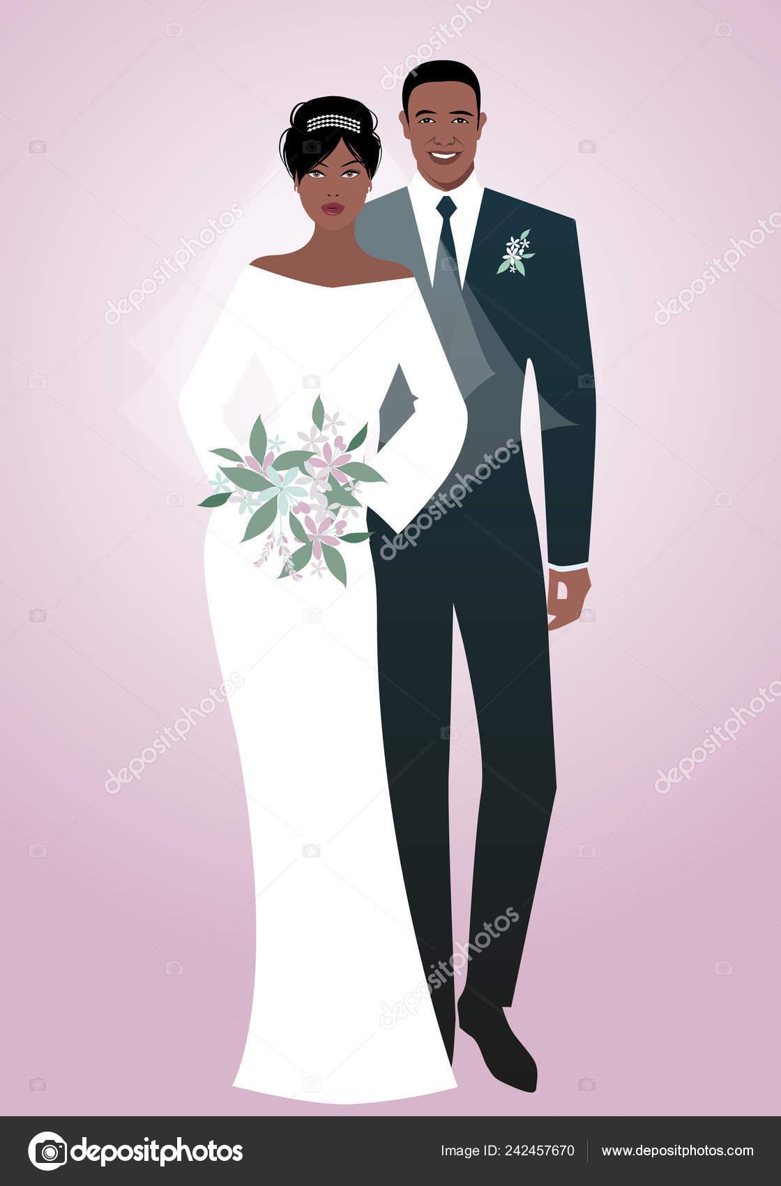 0fb0047df Joven Pareja Afro Recién Casados Con Ropa Boda Novio Elegante ...