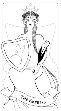 Major Arcana Tarot Cards. The Empress. Beautiful woman with long braids, pregnant, sitting on a throne with a crown of flowers and stars, holding a shield with a hummingbird on the front and golden scepter shaped like a tulip.