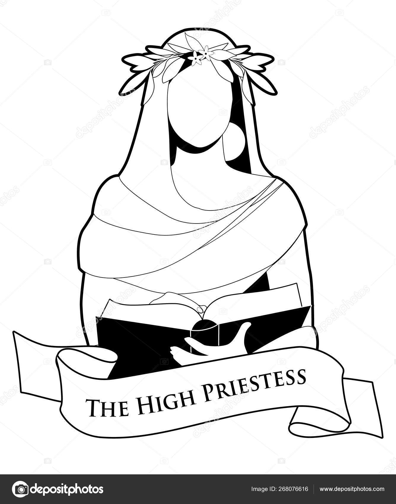 Tarot Card Concept  The High Priestess with a laurel wreath