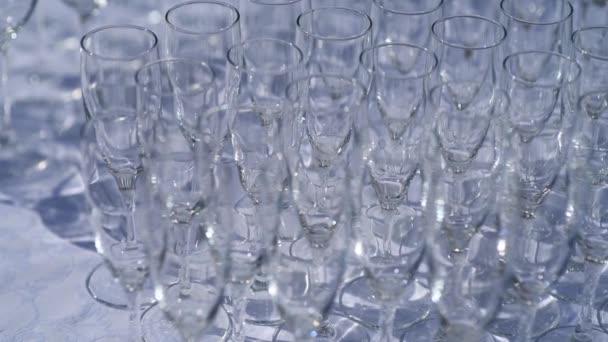 snímek sklenice šampaňského seřazené v řadách na stole čekající na svatební hostinu