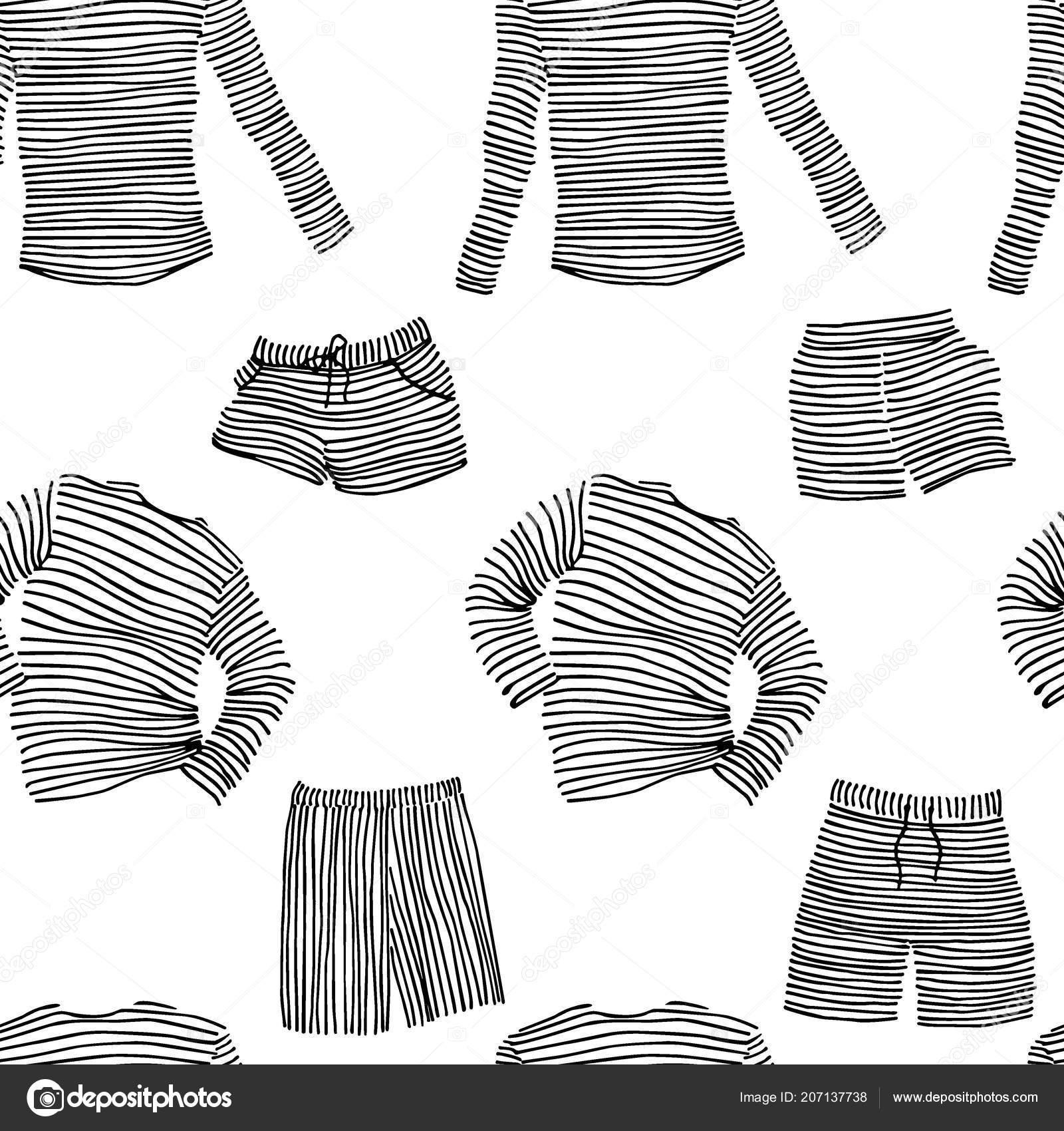 Vektor bezešvé pattern s rukou kreslené prokládané spodního prádla. Rukopis  kreslení 9f378aa31e