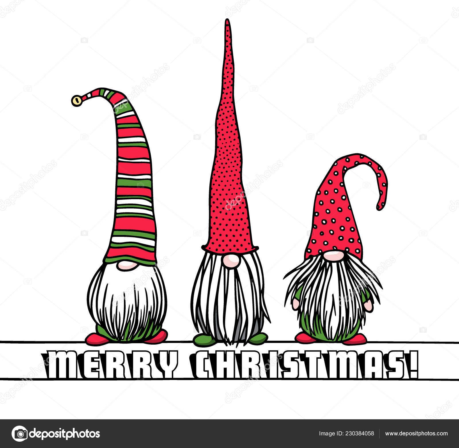 Christmas Gnomes Clipart.Hand Drawn Christmas Gnomes Stock Vector C Ezhevica 230384058