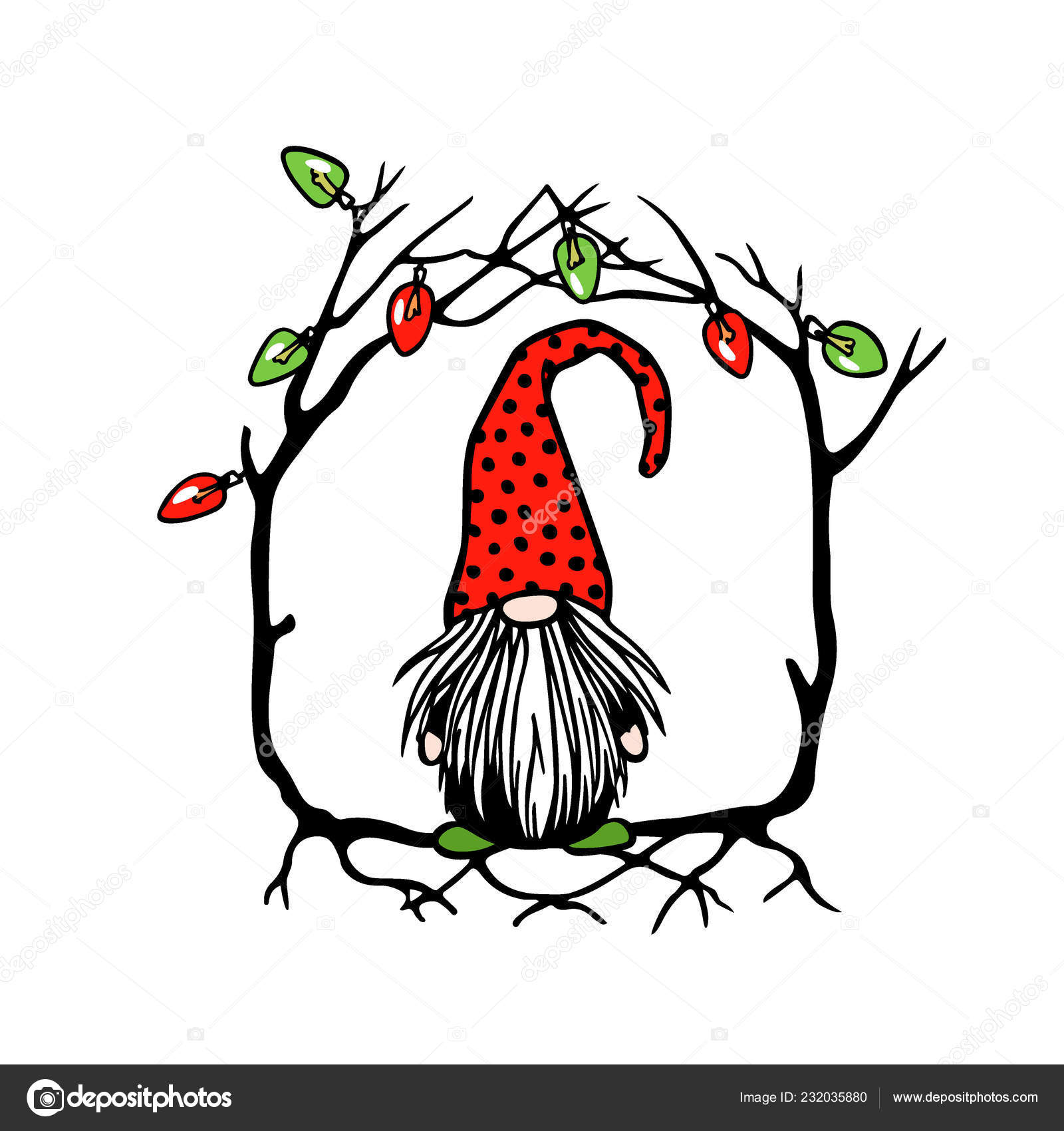 Christmas Gnome Drawing.Hand Drawn Christmas Gnome Stock Vector C Ezhevica 232035880