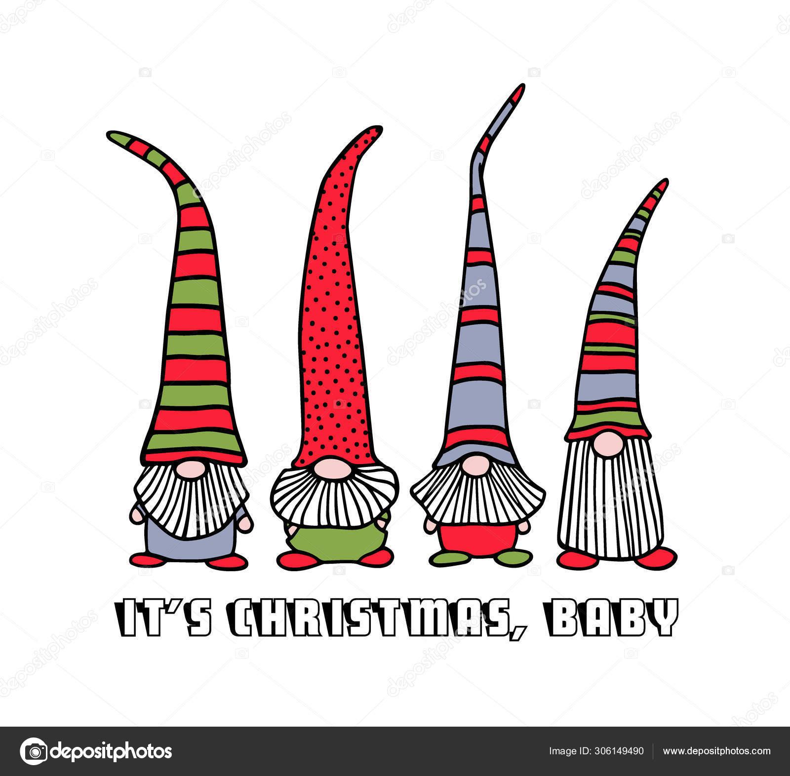 Christmas Gnomes Clipart.Hand Drawn Christmas Gnomes Stock Vector C Ezhevica 306149490