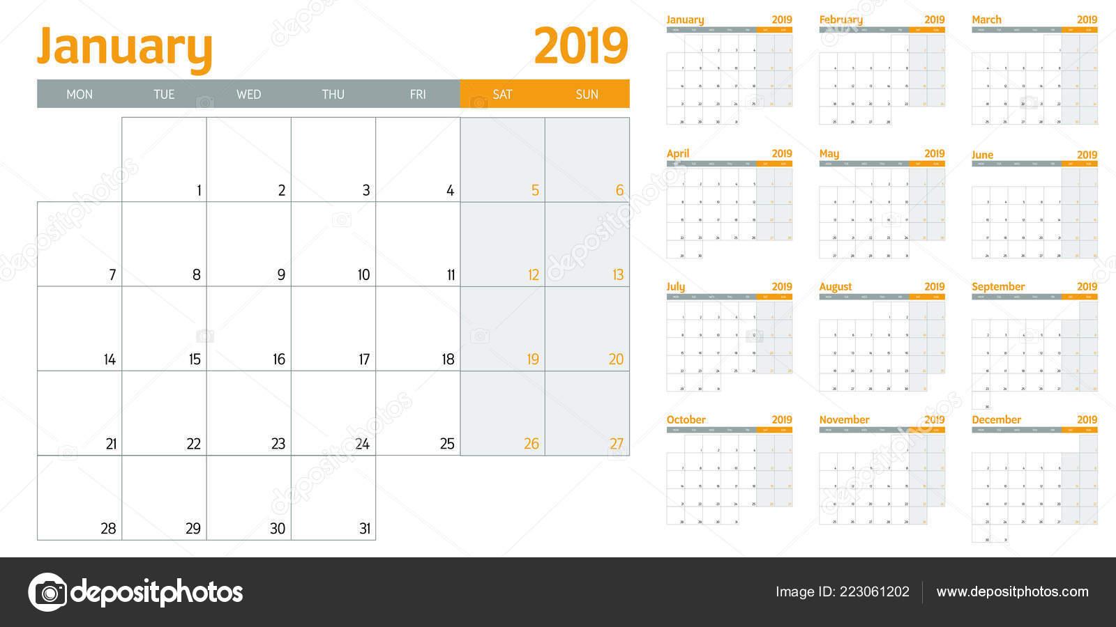 Calendario 12 Mesi.Illustrazione Vettore Del Modello Calendario Planner 2019