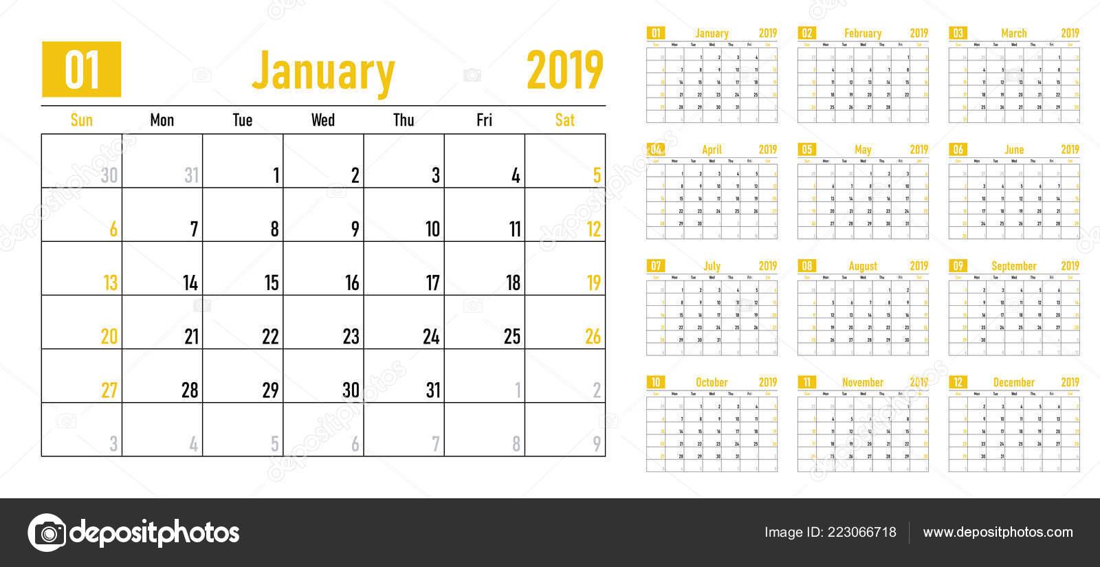 Calendar Planner 2019 Template Vector Illustration All Months Week