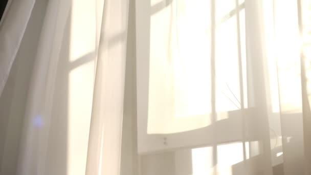 Wind weht durch das offene Fenster im Raum. Am Fenster weht weißer Tüll. Sonnenstrahlen scheinen durch den transparenten Tüll