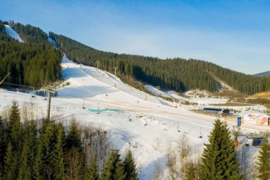 Aerial view of landscape of ski and snowboard slopes through pine trees going down to winter resort in Carpathians.