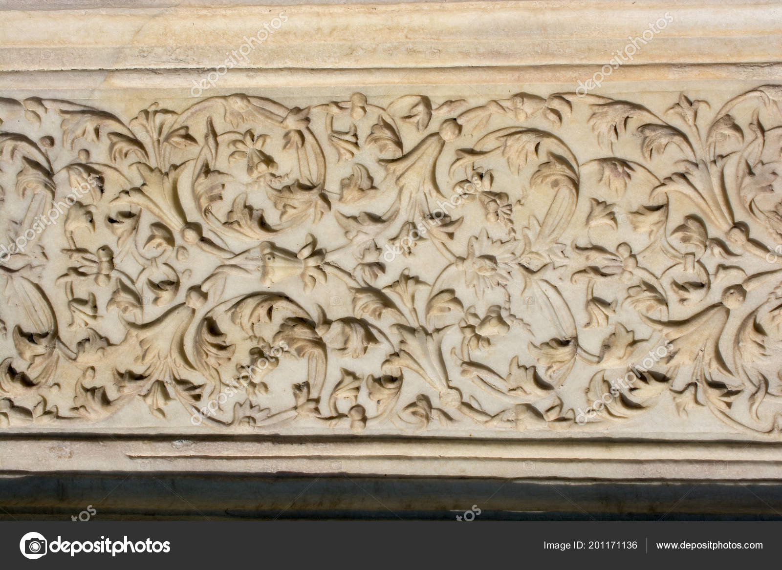 Ottoman Marble Stone Carving Art Floral Patterns — Stock