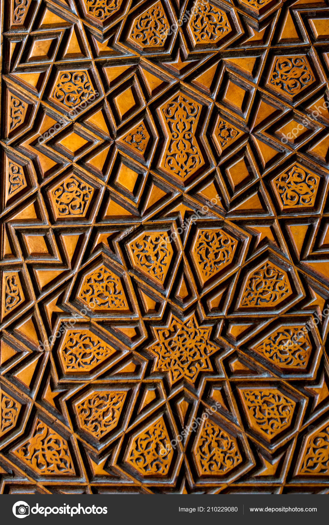 Ottoman Turkish Art Geometric Patterns Wood — Stock Photo