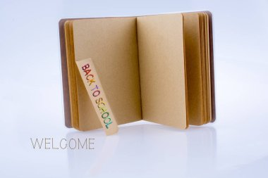 notebook and back to school title
