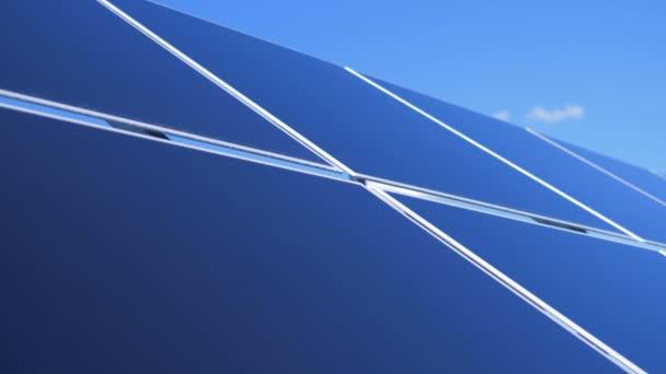 Solární Panel farma. Zblízka venku solárních modulů vytváření pole