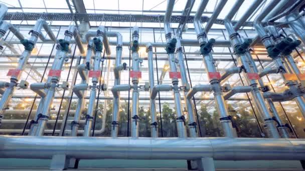 Weitwinkelaufnahme eines Rohrleitungssystems in einem Glashaus