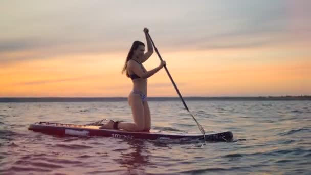 A woman in swimsuit rows on water. A surfer rides her board, using a special paddle.