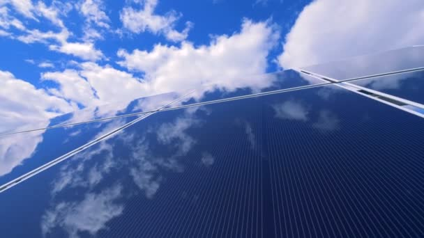 Modern solar panel in the open air is reflecting the sky