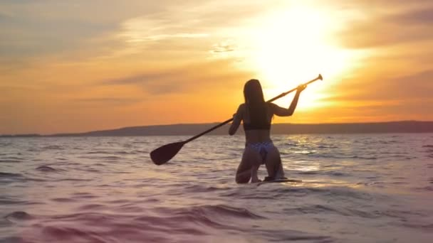 Back view of an attractive lady while paddleboarding during sunset