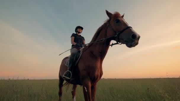 Atletka na koně venku, pohled zespodu.
