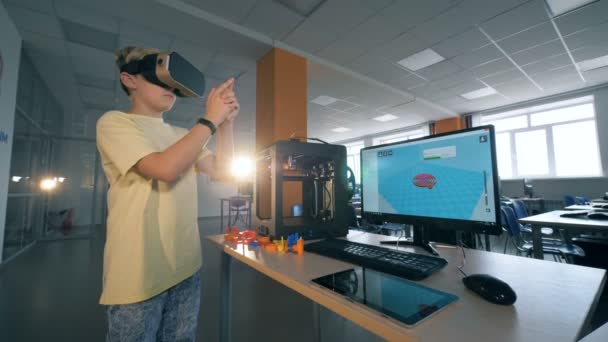 Science laboratory with a boy playing in virtual reality glasses.  Futuristic education concept.