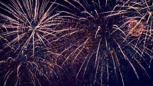 Ein fantastisches Feuerwerk blitzt auf. Mehrere Feuerwerke 4k